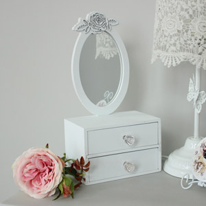 White Table Top Wooden Vanity Mirror with Drawers