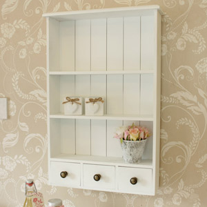 White Three Drawer Shelf Unit