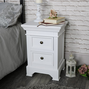 White Two Drawer Bedside Chest - Daventry White Range