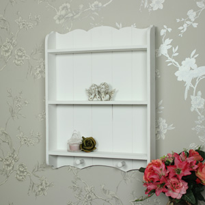 Pretty White Wall Shelf Unit with Hooks
