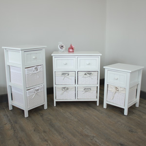 White Wicker Storage Unit Furniture Bundle