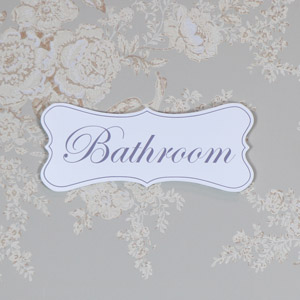 White Wooden 'Bathroom' Hanging Plaque