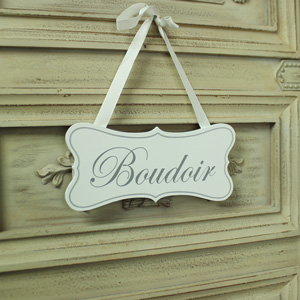White Wooden 'Boudoir' Hanging Plaque