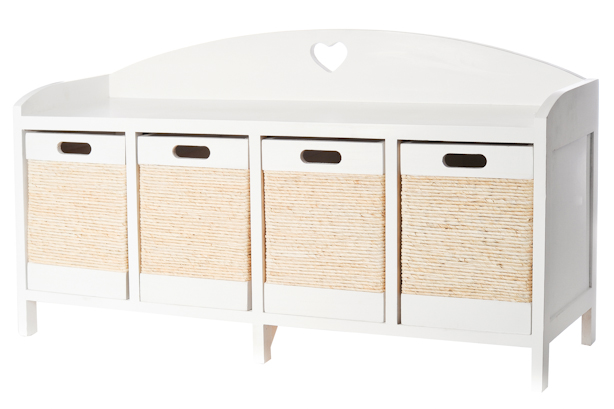 White Wooden Four Drawer Wicker Storage Bench