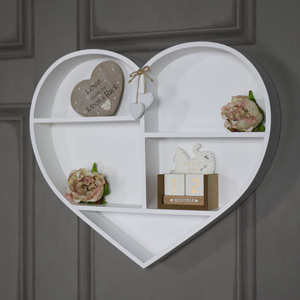White Wooden Love Heart Wall Shelf