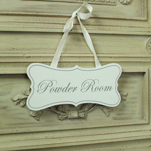 White Wooden 'Powder Room' Hanging Plaque