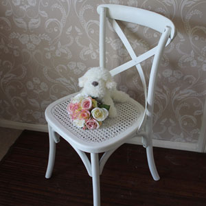 Heritage Range- Antique White Wooden Rattan Chair