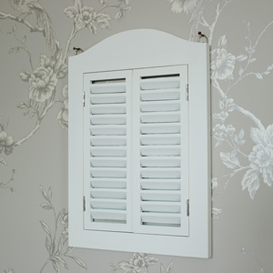 White Wooden Shutter Mirror