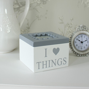 White Wooden Trinket Box
