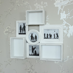 White Wooden wall shelving with Photograph Frame