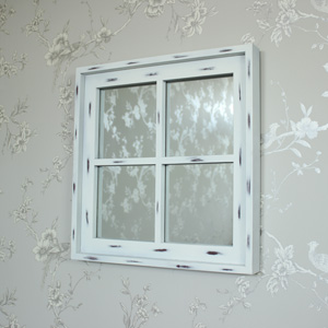 White Wooden Window Pane Wall Mirror
