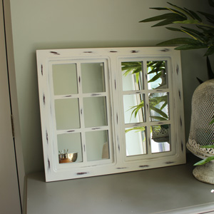 White Wooden Window Pane Mirror