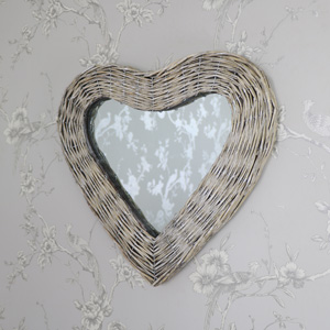Wicker Heart Shaped Wall Mirror 42cm x 47cm