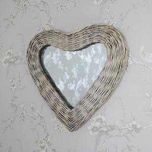 Wicker Heart Shaped Wall Mirror 42cm x 47cm