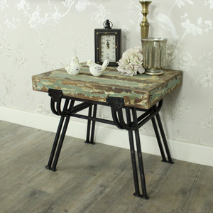Wood & Metal Stool / Side Table
