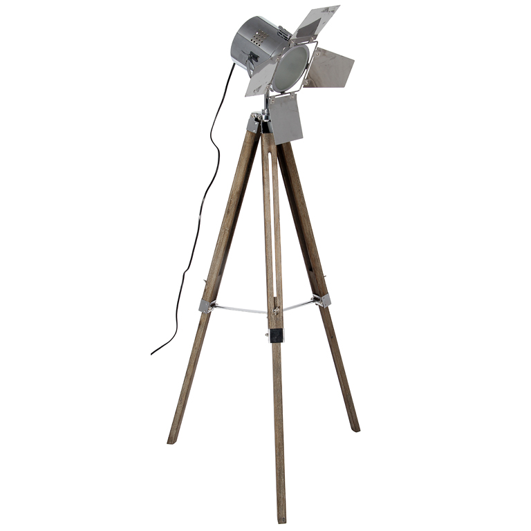 Floor Standing Lamp - Wooden Base and Chrome Head Film Light