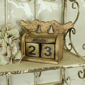 Wooden Bird Block Calendar