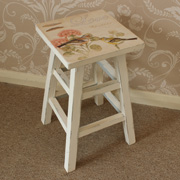 Wooden floral stool with Bird detail