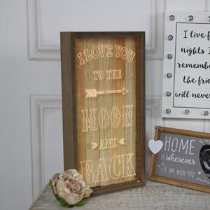 """Wooden Framed LED Light Up Plaque """"I Love You....."""""""