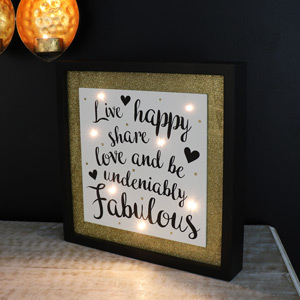 "Wooden Framed LED Light Up Plaque ""Live Happy....."""