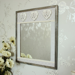Wooden Gingham Heart Butterfly Wall Mirror