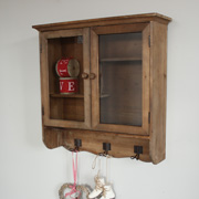 Wooden Glazed Wall Cabinet with Shelves and Hooks