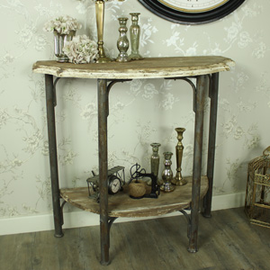 Rustic Cream Wooden Half Moon Console Table