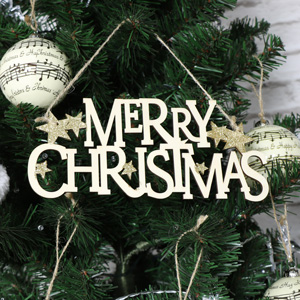 Wooden Hanging 'Merry Christmas' Sign