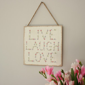 'Live Laugh Love' Floral Hanging Wall Plaque