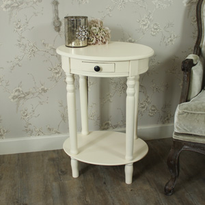 Wooden Ivory Oval Occasional/Side Table