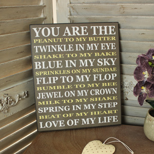 Wooden 'You are the Peanut to My Butter...' Wall Plaque