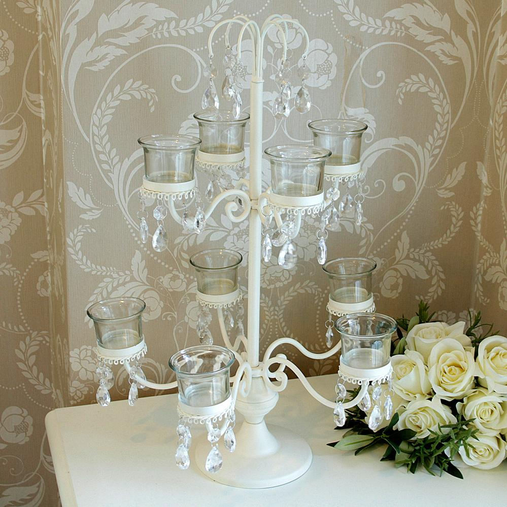 Cream 9 Cup Tea Light Holder Candelabra