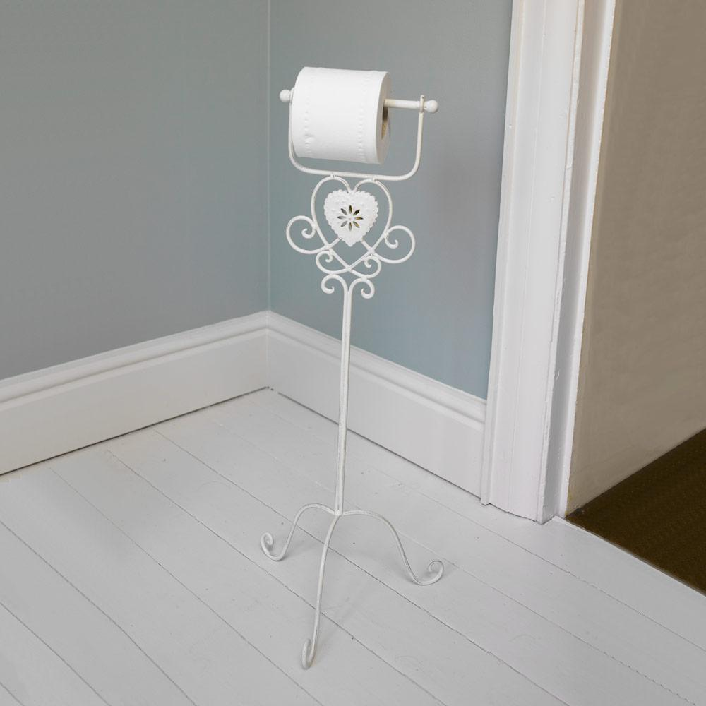 Ivory Heart Free Standing Toilet Roll Holder