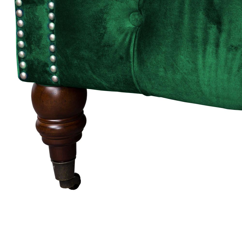 Large Green Velvet Chesterfield Sofa