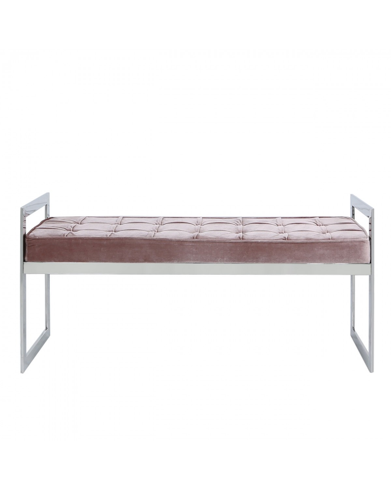 Silver Pink Velvet Bench Seat