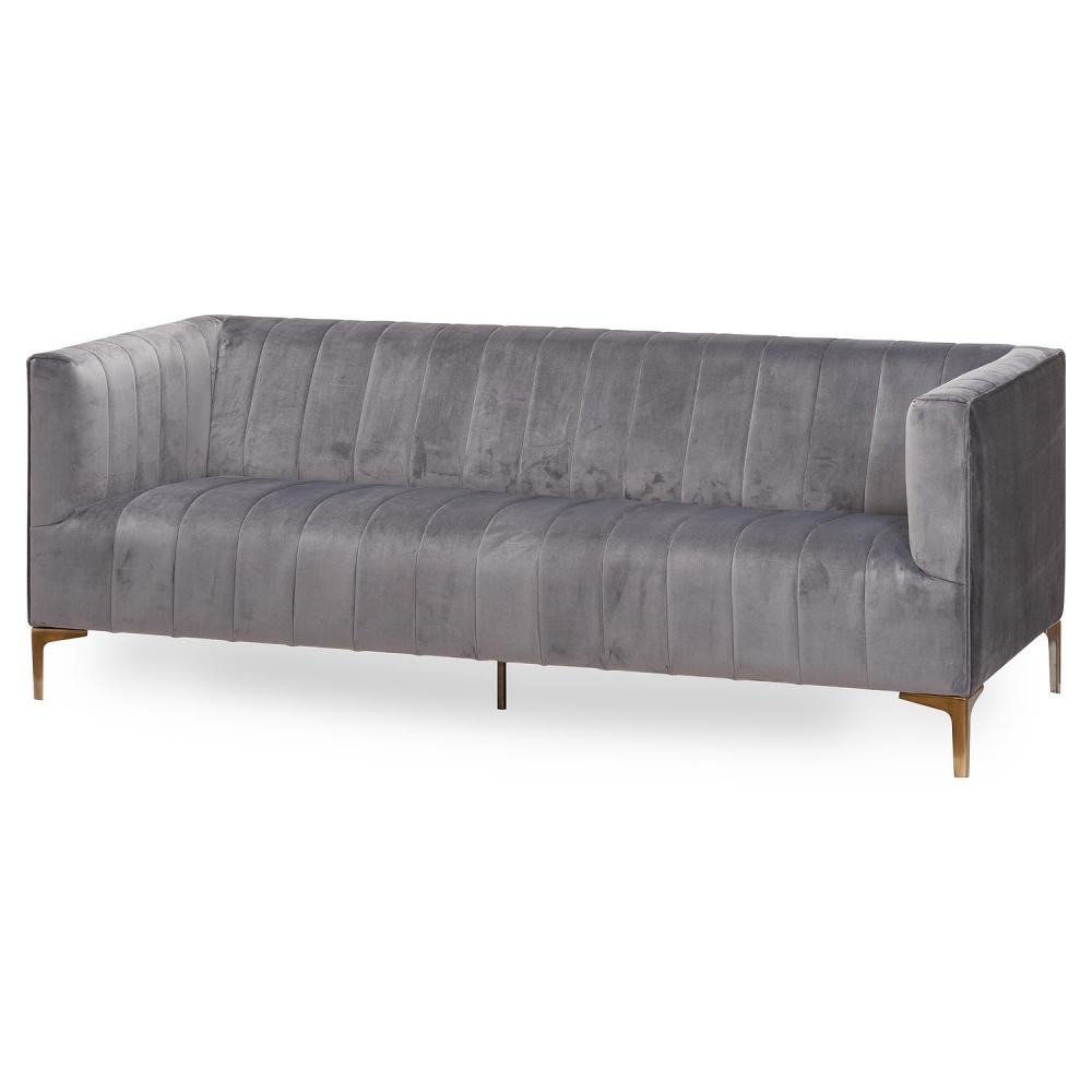 Large Grey Velvet 2 Seater Sofa