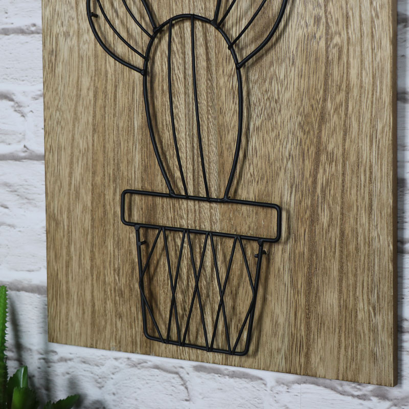 3D Wire Cactus Wall Mounted Plaque