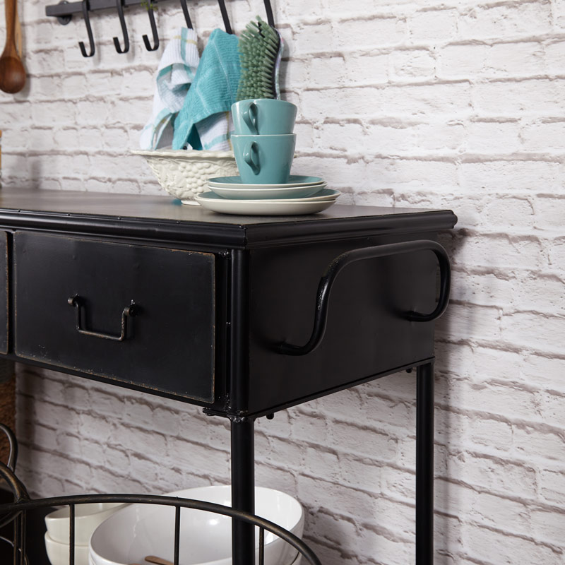4 Drawer Black Iron Industrial Console Table Melody Maison 174