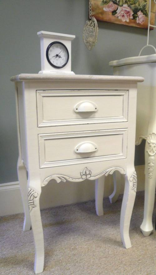 Cream Shabby Vintage Chic Bedside Table Cabinet French