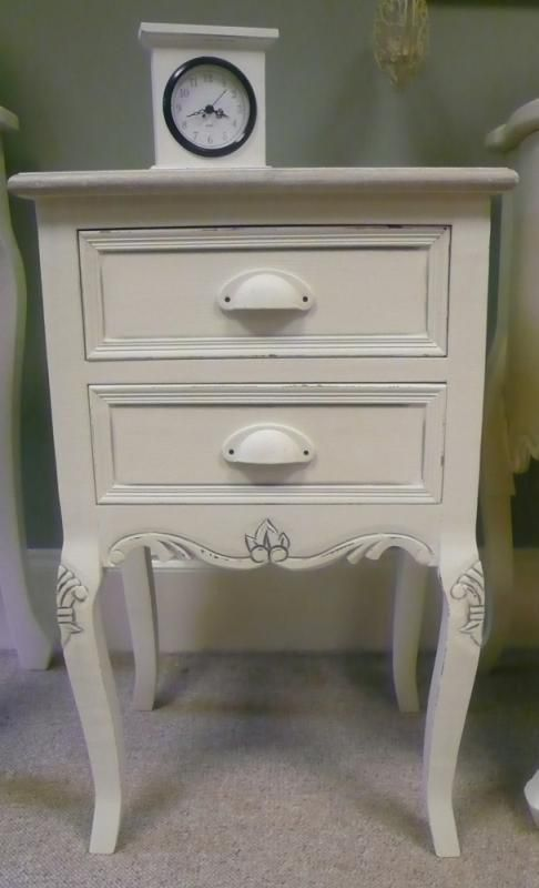 Cream Shabby Vintage Chic Bedside Table Cabinet French Bedroom Furniture Ornate