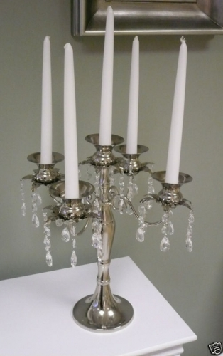 Candelabra silver candle holder chandelier trim wedding for Chandelier centre de table