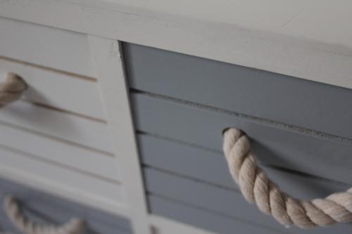 Blue And White Nautical Storage Unit Rope Handles Bathroom