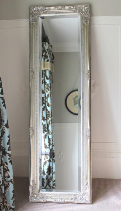 silver ornate mirror tall long vintage chic dressing