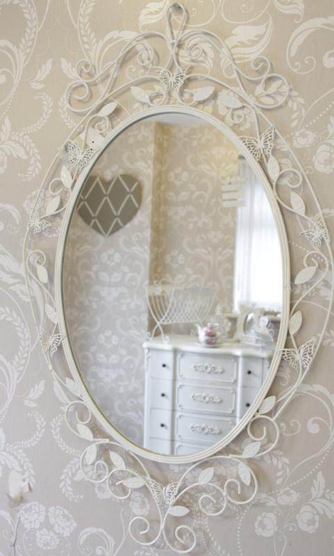 schmetterling wand spiegel cream metall oval shabby chic vintage heim ebay. Black Bedroom Furniture Sets. Home Design Ideas