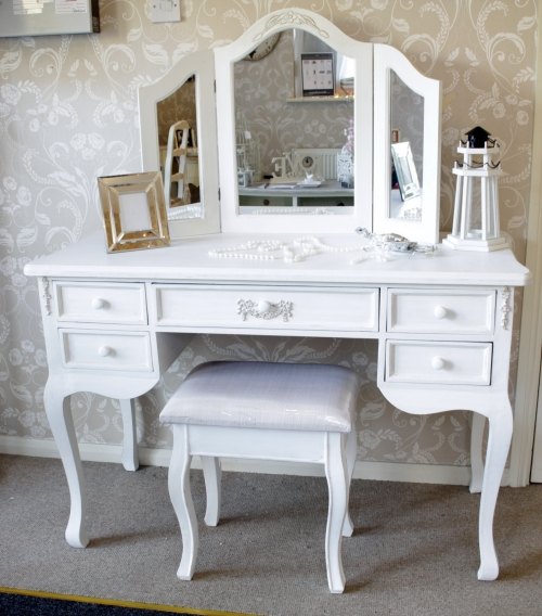 Antique white 5 drawer dressing table distressed writing for French white dressing table