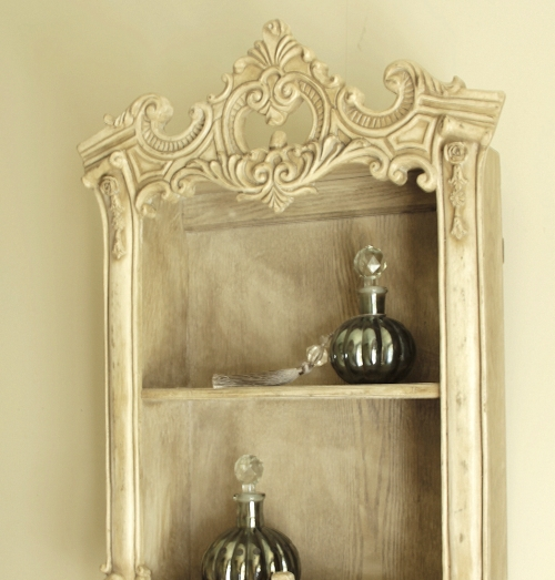 ornate wall cabinet shelf cream distressed wooden ivory bed bathroom