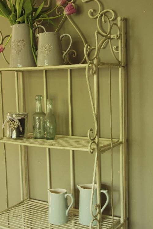 metal cream shelf unit shabby vintage chic bathroom. Black Bedroom Furniture Sets. Home Design Ideas