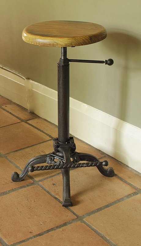 Replica Tractor seat bar stool with wooden top shabby  : MG6633 from ebay.ie size 461 x 800 jpeg 270kB