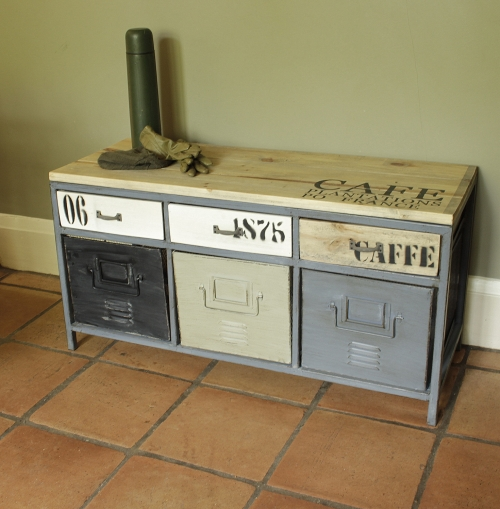 Metal Industrial Locker Style Storage Bench