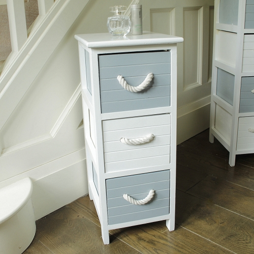 blue and white 3 drawer nautical storage unit chest